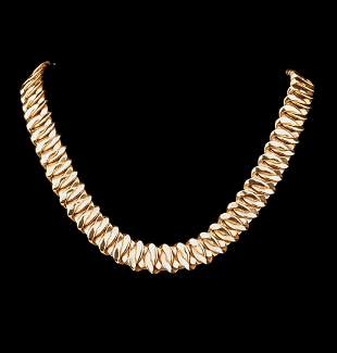 Italian Gold Hollow Link Flexible Necklace