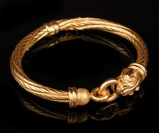 Italian Yellow Gold Hinged Bangle Bracelet