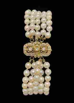 Yellow Gold, Pearl and Diamond Bracelet
