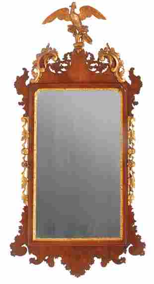 Carved Giltwood and Mahogany Mirror