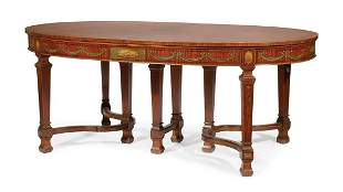 Paint-Decorated Satinwood Dining Table