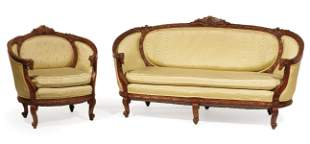 Louis XVI-Style Carved Mahogany Parlor Group