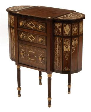 American Inlaid and Painted Work Table