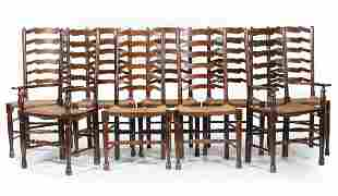 Nine Provincial Ladder-Back Dining Chairs