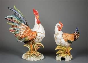 Italian Polychrome Ceramic Rooster & Hen Figure