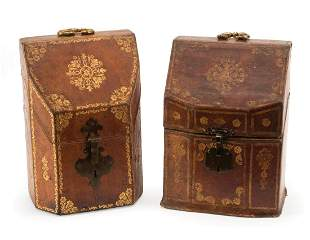 Two Gilt-Tooled Leather Cutlery Boxes