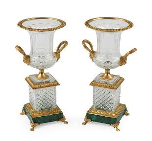 Empire-Style Cut Crystal Urns
