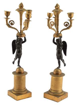 French Gilt and Patinated Bronze Candelabra