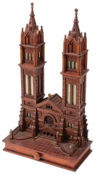 Carved Wood Illuminated Model of a Church