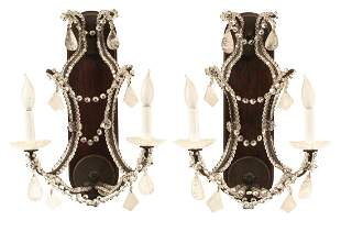 French Iron and Rock Crystal Sconces