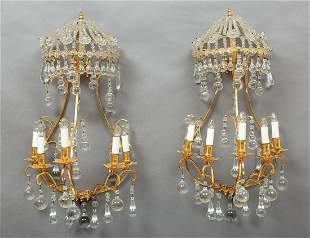 Continental Gilt Metal and Crystal Sconces