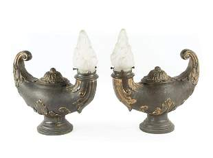 """Pair of French Bronze """"Aladdin"""" Lamps"""