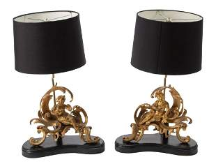 French Gilt Bronze Chenets Mounted as Lamps