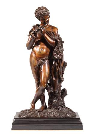 """Bronze Figure of """"Satyr Playing the Flute"""""""