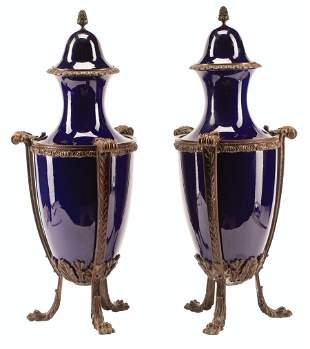 Bronze-Mounted Porcelain Covered Vases