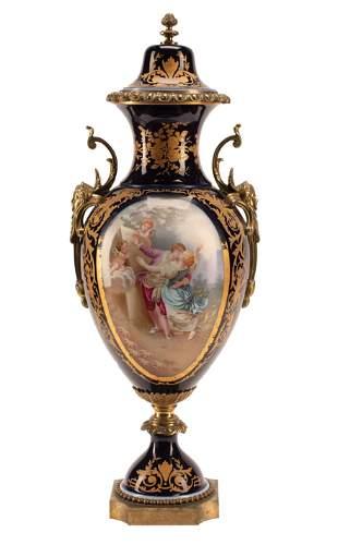 Sevres-Style Porcelain Covered Urn