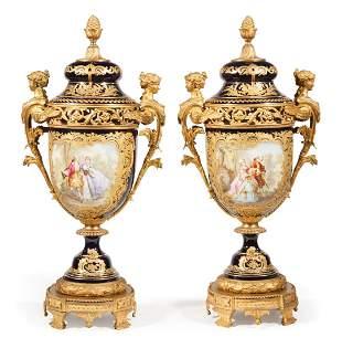 Sevres-Style Porcelain Lidded Urns