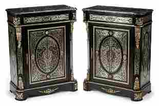 Regence-Style Pewter Inlaid Music Cabinets