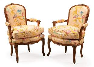 Pair of Louis XV-Style Fauteuils