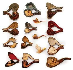 Fifteen Carved Meerschaum Pipes