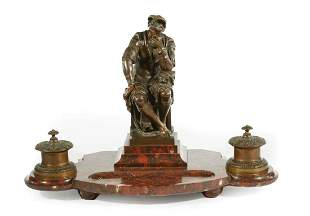 French Bronze-Mounted Rouge Marble Encrier