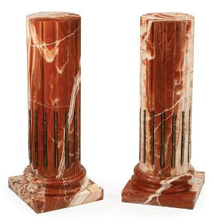 Bronze-Mounted Fluted Siena Marble Pedestals