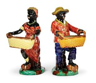 Continental Majolica Figures Holding Baskets