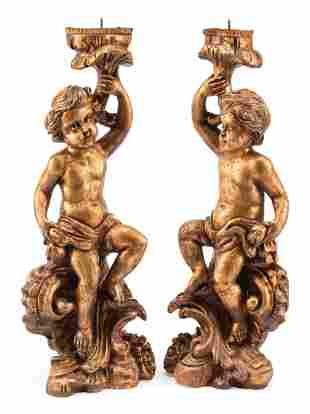 Italian Carved Giltwood Figural Prickets