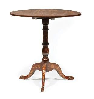 Dutch Marquetry Mahogany Tilt-Top Table