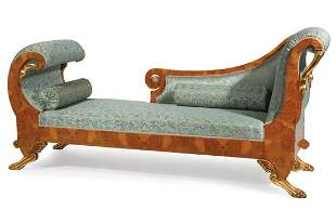 Burled Wood and Parcel Gilt Grecian Couch