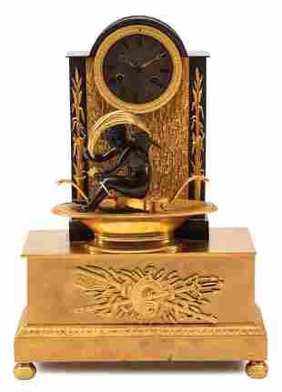 Patinated Gilt Patinated Bronze Mantel Clock