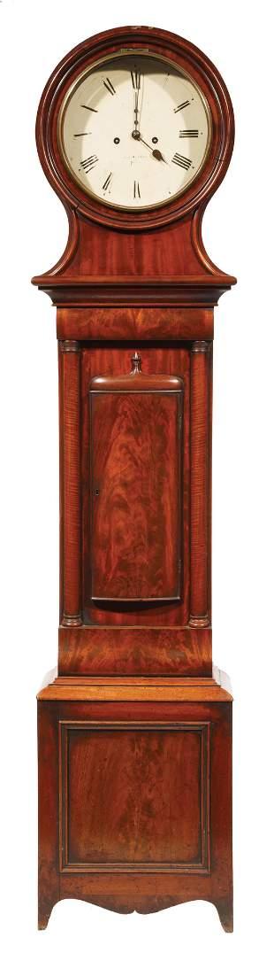 Scottish Carved Mahogany Tall Case Clock