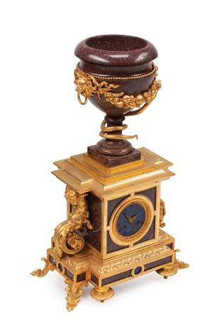 Porphyry and Lapis Lazuli Mantel Clock