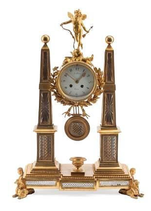 Bronze and Cut Crystal Mantel Clock