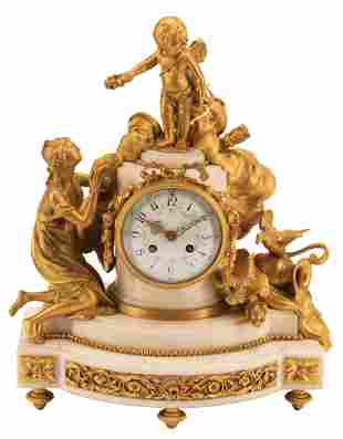 Gilt Bronze and Marble Figural Mantel Clock