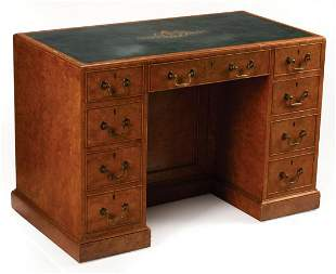 Georgian Burlwood Kneehole Writing Desk