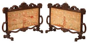 English Victorian Carved Oak Fire Screens