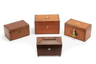 Four Antique English Mahogany Tea Caddies
