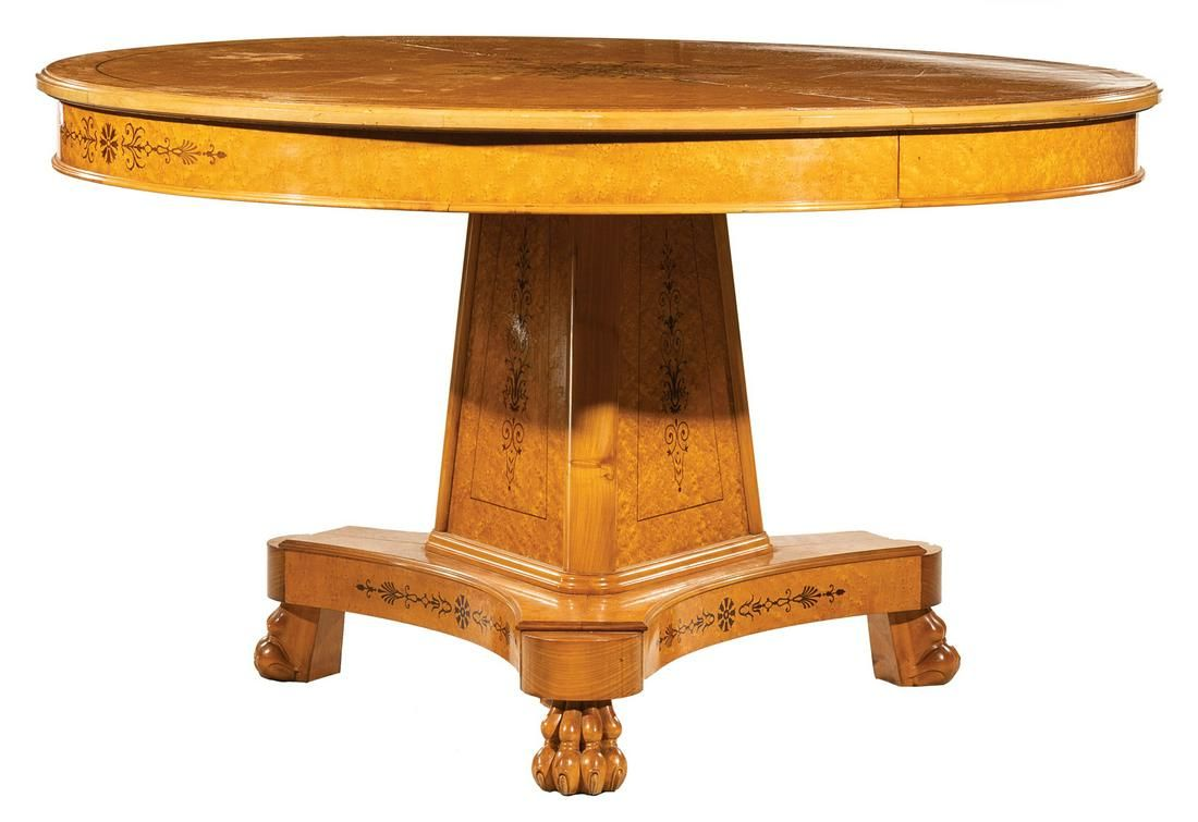 Inlaid Maple Extension Dining Table