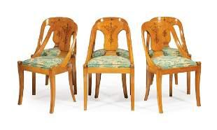 Six Inlaid Maple Gondola Chairs