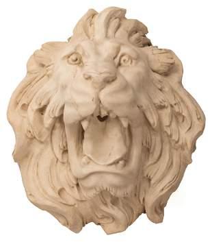 Carved Carrara Marble Lion Fountain Head