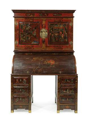 Chinese Painted Red Lacquer Secretary Desk