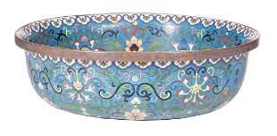 Large Chinese Cloisonne Enamel Bowl