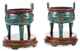 Pair of Monumental Chinese Cloisonne Enamel Tripo
