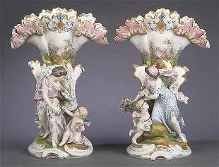 Pair of Vieux Paris Porcelain Figura