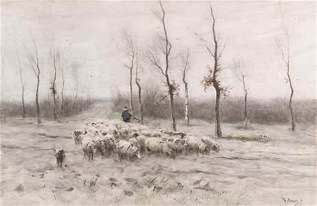 """Anton Mauve (Dutch, 1838-1888), """"Landscape with Shepher"""