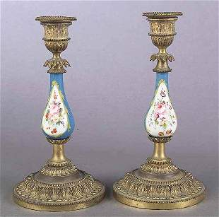 0782: Pair of French Porcelain and Gilt Br
