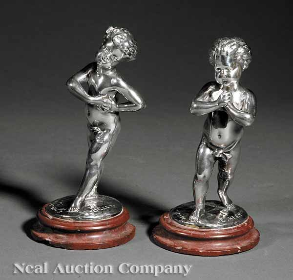 0015: Pair of French Silvered Bronzes after Louis Kley