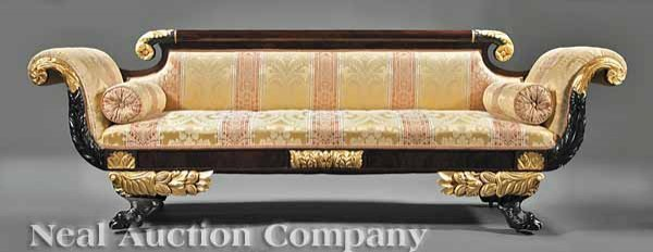 0018: American Classical Carved and Gilded Sofa