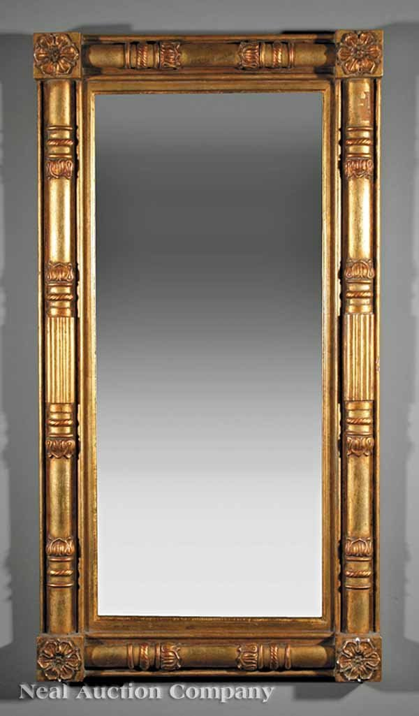 0020: American Classical Carved, Gilded Pier Mirror